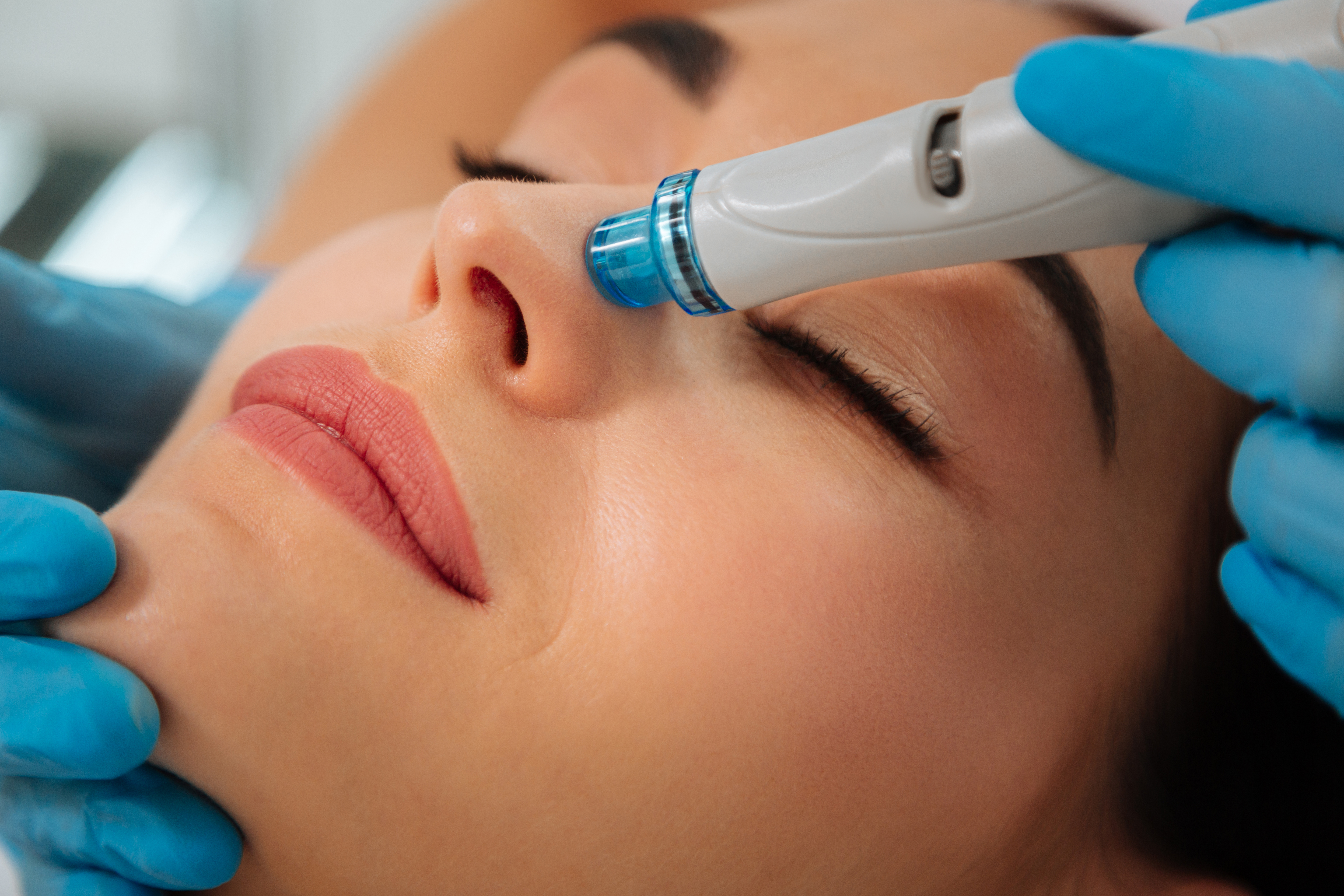 Close up of a modern device for hydrafacial procedure